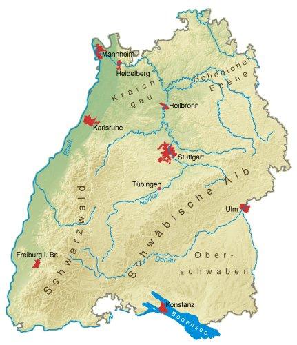 Landkarte von Baden-Württemberg