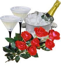 Bild mit Sekt und Rosen